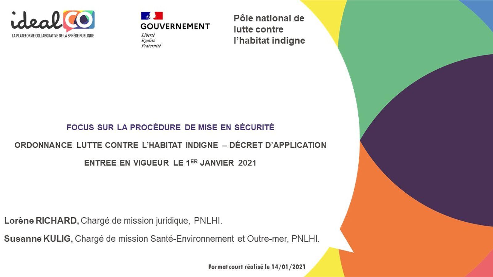 [FORMAT COURT] Les apports de l'ordonnance LHI du 16/09/2020 : la procédure de mise en sécurité